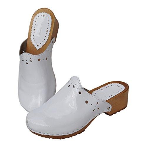 De Sabots Ella Chaussures Femme Bois Hollert En Mules Cuir Pour Blanc Véritable 7qy1zBcUw