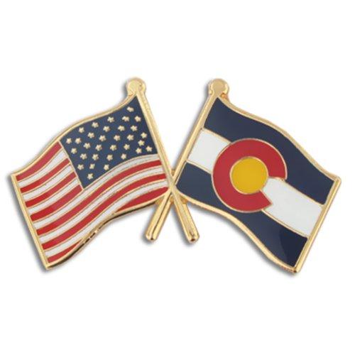 PinMart Colorado and USA Crossed Friendship Flag Enamel Lapel Pin (Colorado Lapel Pin)