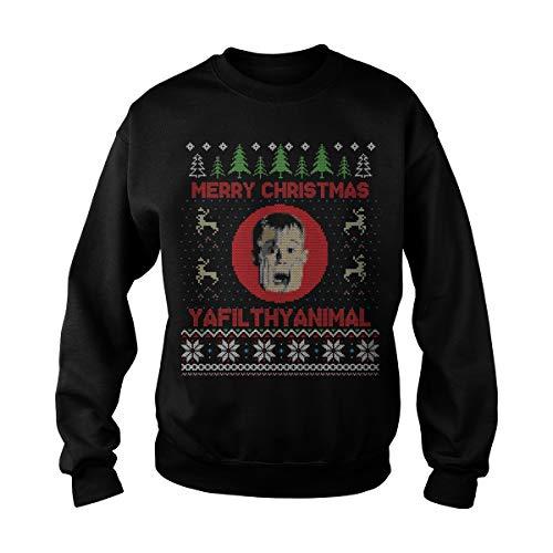 Unisex Christmas Home Alone Filthy Animals Knit Sweatshirt (M, Black) ()
