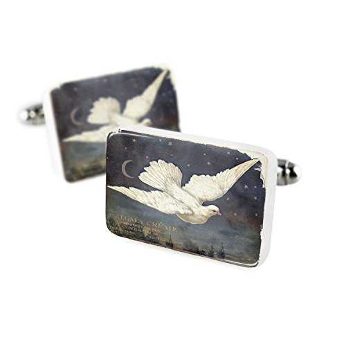 Cufflinks White Dove, Vintage Porcelain Ceramic NEONBLOND (Porcelain Dove)