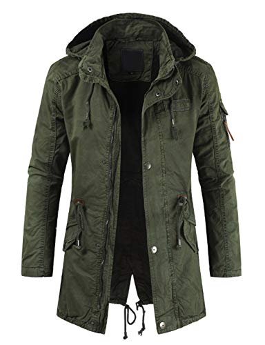 Kerrian Online Fashions 41rKNEGQSEL chouyatou Men's Spring Military Full-Zip Removable Hooded Cotton Mid-Long Parka Jacket Coat