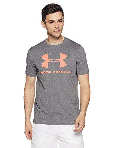Under Armour Mens Sportstyle Logo T-Shirt,Graphite Medium Heat (041)/Magma Orange, Medium