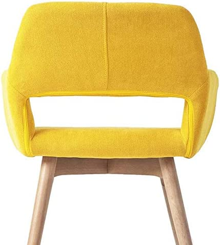 YEEFY Lot de 2 chaises de salle à manger modernes avec pieds en bois massif Jaune
