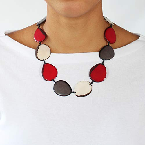 (Wafers Tagua Necklace in Red, Ivory and Gray)