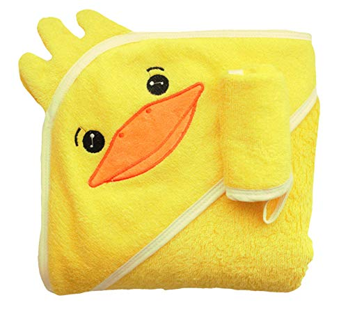 Yellow Duck 100% Bamboo Baby Bath Towel and Washcloth Set for Babies & Toddlers - Large, Ultra Soft, Thick - Premium Baby Hooded Towel for Baby Boy or Baby Girl by Litto Me Baby Company