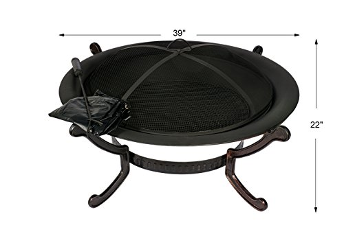 Hio 39 Inch Outdoor Fire Pit With Spark Screen Steel Wood