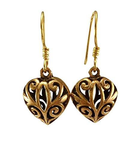 LynnAround Real Bronze Puffy Filigree Heart Drop Dangle Earrings Fish Hook Bronze Jewelry Gifts