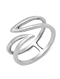 Pointed Open Wave Criss Cross Sterling Silver Womens Thumb Ring Sizes 4-10