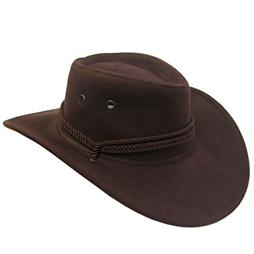 Jacobson Hat Company Men's Faux Suede Outback, Brown, Adult