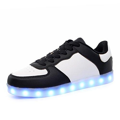 KALEIDO ShinyNight USB Lade 11 Farben LED Leuchten Schuhe Mode Turnschuhe Sportschuhe Für Herren Frauen Mädchen Jungen W-schwarz Weiß
