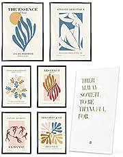 Heimlich® Premium Poster Set - ZONDER Frame - Stijlvolle set met bijpassende foto's als woonkamer decoratie -2 x A3 & 4 x A4-30x42 & 21x30   » Abstract Matisse Modern «