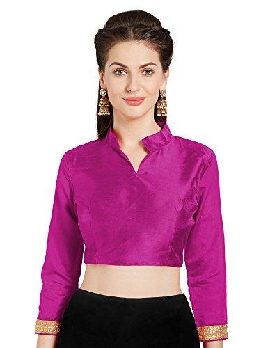 Women's Magenta Art Silk Readymade Saree Blouse Choli Mirchi Fashion Top