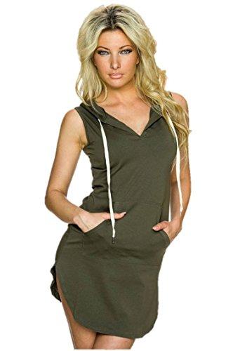 Maniche A V Con Cappuccio Vestito Designer97 Scollo Sportwear Senza Casuale Donne Mini Verde Delle Con qCxTwBZ1