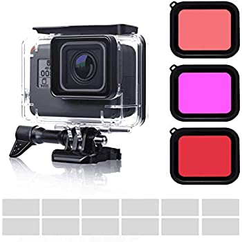 FINEST+ Waterproof Housing Case Filter Kit for GoPro Hero 7 Black/2018/6/5,Waterproof Case Diving Protective Housing Case+3Pack Dive Filters+Anti-Fog Insert+Bracket Accessories for Go Pro Hero7 Black