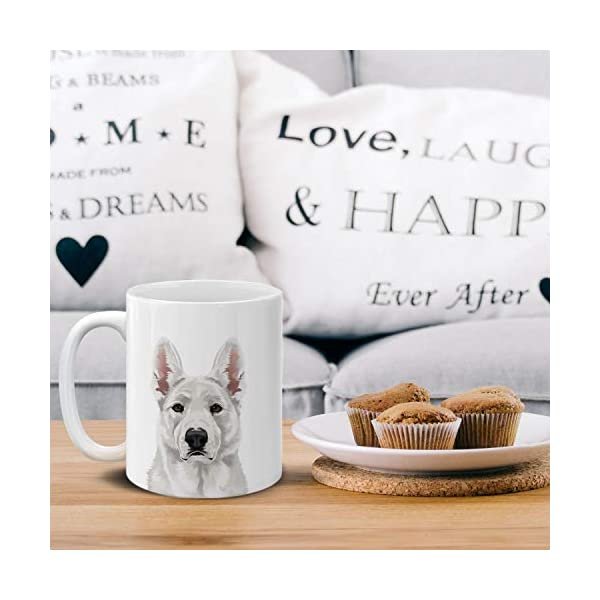 MUGBREW Cute White German Shepherd Dog Full Portrait Ceramic Coffee Gift Mug Tea Cup, 11 OZ 5