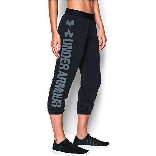 Under Armour Women's Favorite Fleece Capri, Black/White, Small