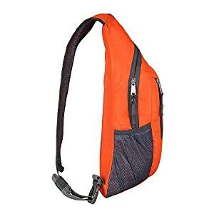 Travel Lightweight Shoulder Backpack Sling CrossBody Bag Hiking School Men Women (Orange)