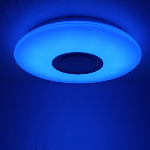 HOREVO Plafón LED Lámpara de Techo con Altavoz Bluetooth, 24W, 1800 Lúa Menes, 6500K Cool Blanco Calido Ajustable + Luz de Colores, APP + Mando a ...