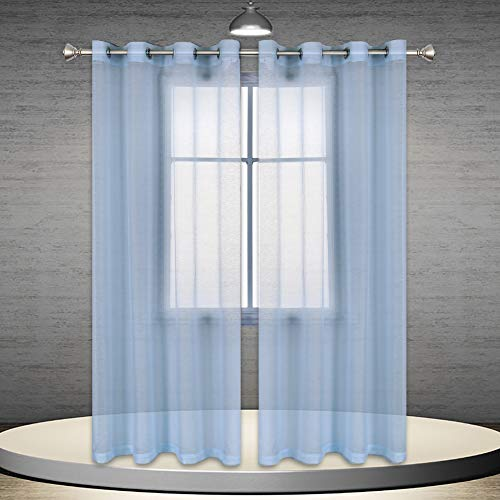DONREN Baby Blue Beautiful Semi Sheer Voile Window Elegance Curtains for Bedroom Living Room 52 Inch x 84 Inch Set of 2 (Baby Blue Kitchen Curtains)