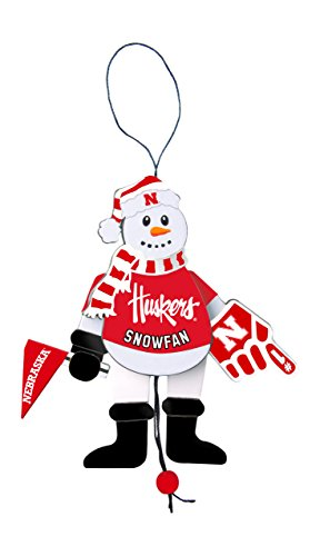 NCAA Nebraska Cornhuskers Wooden Cheering Snowman Ornament