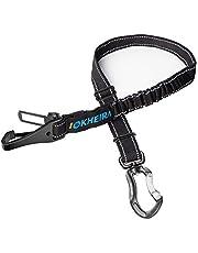 IOKHEIRA Dog Seat Belt, Dog Seatbelt, 3-in-1 Multifunctional Adjustable Safety Reflective Bungee Dog Car Harness with Hook Latch & Seatbelt Buckle Attachment, Swivel Aluminum Carabiner