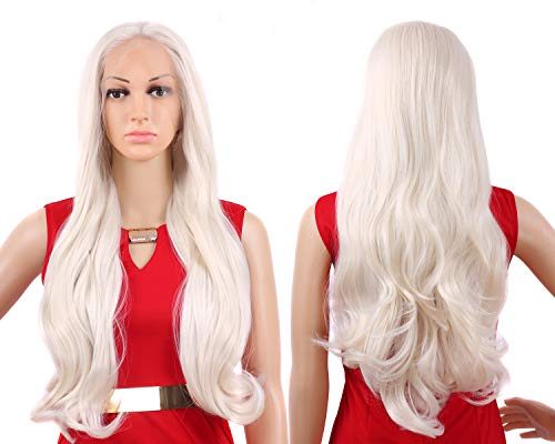 Tripal Hairs Platinum Blonde Wig Heat Resistant Synthetic Lace Front Wigs Natural Wavy 60# Color 24 Inches