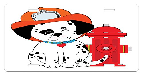 Fireman License Plate by Lunarable, Cartoon Style Dalmatian Firefighter Puppy Wiggling Its Tail with Fire Hydrant, High Gloss Aluminum Novelty Plate, 5.88 L X 11.88 W Inches, Red Orange (Red Hydrant Tag)