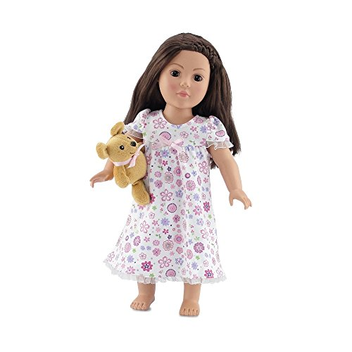 18 Inch Doll Clothes | Lovely Ruffled Pink Floral Nightgown PJs with Teddy Bear | Fits American Girl (Teddy Bear Pjs)