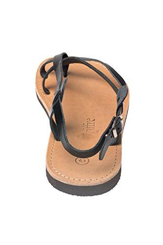 mano 36 a Hecho Negro genuino 47 Creta sandalia cuero Negro Grecia de la de Tamaño en de Beis superior tiras Marron de H5ZqwZ