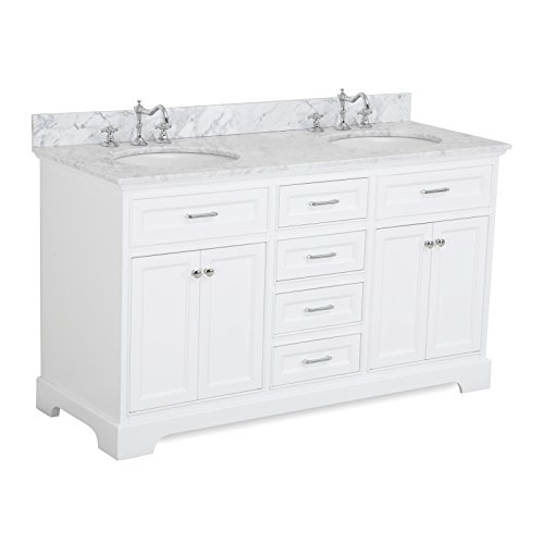 Aria 60-inch Double Bathroom Vanity (Carrara/White): Includes a White Cabinet with Soft Close Drawers, Authentic Italian Carrara Marble Countertop, and White Ceramic Sinks