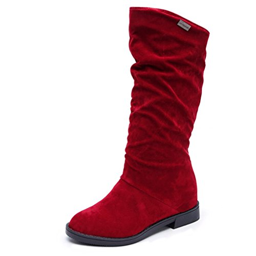 Amily Women Inverno Moda Pelle Scamosciata Stivali Bassi Stivali Da Donna Dolce Avvio Elegante Piatto Gregge Scarponi Da Neve Rosso