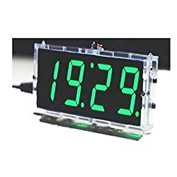 Electronic DIY 4 Digital Clock Making Kits 51 Single Chip Light Control Temperature Date Time with Transparent Case(Green)