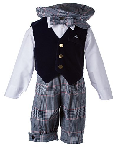 - Toddlers Vintage Formal Outfit with a Navy Velvet Vest and Plaid Knickers (4 Toddlers)