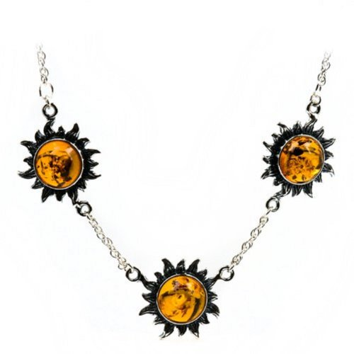 Baltic Honey Amber and Sterling Silver Medium Flaming Sun Necklace, 18