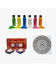 Alooatta DIY Diwali Decoration Kit - Diwali Decorations for House, Courtyard - Rangoli Rice Powder and Reusable Stencil - Soy Wax Diwali Diyas - Indian Wedding, Party Decorations - Diwali Gift Set