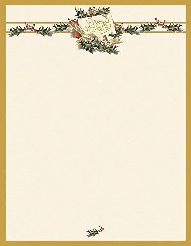 Christmas Letterhead Paper - Great Papers! Vintage Christmas Holly Letterhead, 80 count, 11