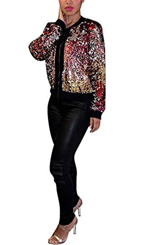 Women's Spring Autumn Fashion Zip Up Sequins Biker Bomber Jacket Baseball Jacket Casual Short Coat Outwear Party Club Stage Dress S