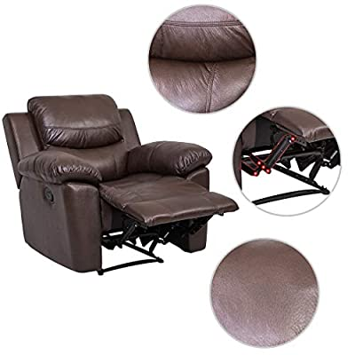 JUNTOSO 3 Pieces Recliner Sofa Sets Bonded Leather Lounge Chair Loveseat Reclining Sofa for Living Room