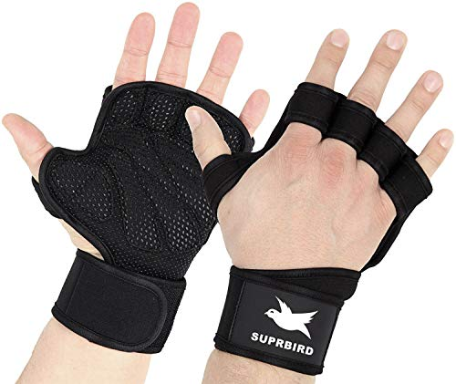 SUPRBIRD New Weight Lifting Gym Gloves, Cross Training Gloves with Wrist wrap Support and Heavy Duty Silicon Grip for Great for Pull Ups, Cross Training,Fitness,WODs & Weightlifting (Black, S)