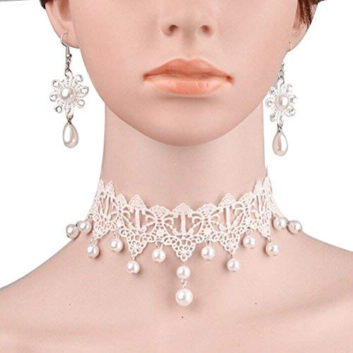 WINOMO Flower Lace Necklace Choker Faux Pearl Pendant Necklace Earring ()