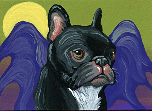 ACEO ATC - free shipping- Halloween Black Bat Dog French Bulldog Original Dog Art-Carla Smale]()