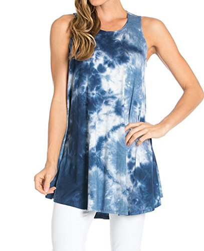 Azules Women's Rayon Span Tank Top Tunic-Solid (Medium, Bermuda Triangle)