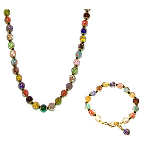 Just Give Me Jewels Genuine Venice Murano Sommerso Aventurina Glass Bead Strand Long Necklace and Bracelet Set, Multi-Color