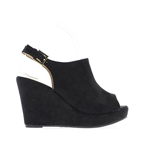 Sandales compensées femme noires aspect daim talon 10cm avec plateforme de 3cm