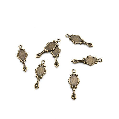 300 PCS Ancient Antique Bronze Fashion Jewelry Making Crafting Charms Findings Bulk for Bracelet Necklace Pendant Retro Accessoires Lots Vintage K6CN6C Small Mirror Cabochon Base Blank