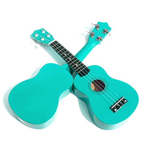 Geek-House Childlike Handmade Wooden 21 Inch Soprano Ukulele Adorable Gift for Kids Girls Beginner Mint Green With Pick - Cost To Package First Class Ship