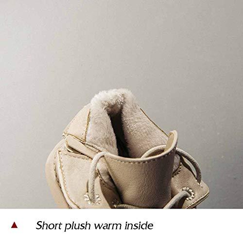 Plus Miss Winter Beige Da Li Velluto Stivaletti Scarpe Lavoro In Cerniera Donna Pelle Caldo Con T4ArT0waq