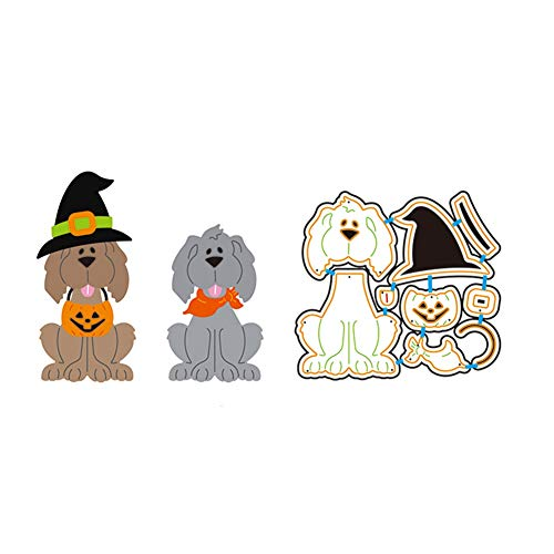 Zzeroe Cutting Dies Halloween Animal Pumpkin Embossing Stencil Template Mould for DIY Scrapbook Photo Album Embossing Craft Decoration Paper Card Making(Dog) ()