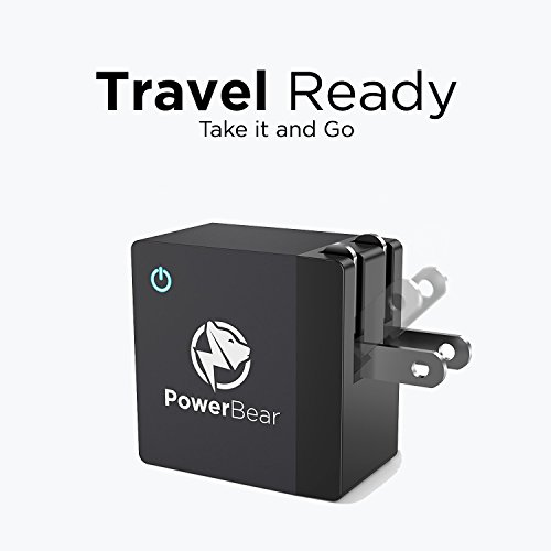 PowerBear QC30 easily Charger 18W Qualcomm 30 Charger by means that of  Foldable Plug for SamsungLGHTCNoteiPhoneNexus PowerBanks Certified Qualcomm 30 Wall Charger BLACK 24 Month service go Chargers
