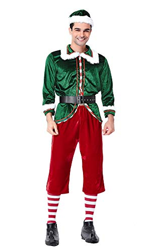 YOLSUN Men's Santa's Elf Costume, Deluxe Cosplay Dress